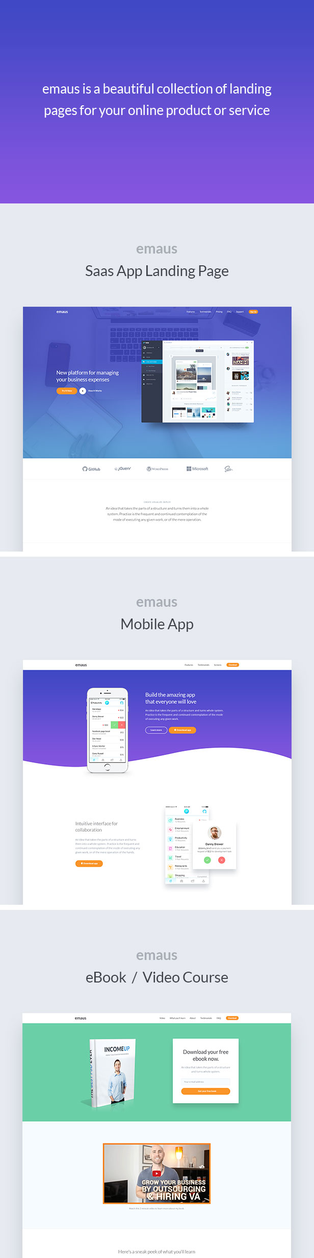 Emaus | SaaS, WebApp, Ebook Responsive Landing Page HTML by DeoThemes