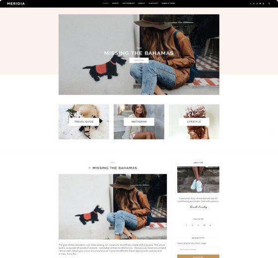 Meridia Minimal Lifestyle Blog WordPress Theme